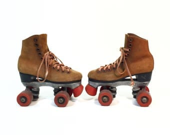 Vintage Dominion Roller Skates Brown Suede Red Wheels Stopper