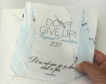 Limited Edition greetings card for Dont Give Up 2017 Convention. (Baptism, special year etc)