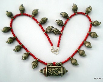 vintage antique tribal old silver necklace pendant mango beads jewelry