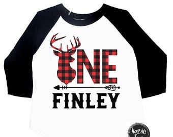 ONE Deer Antler - Personalized Birthday Shirt - Buffalo Plaid Deer Shirt - Lumberjack Shirt - Birthday Shirt - Deer Antlers - One Year Old