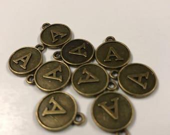 10 Alphabet Initial Letter A Charms Antique Bronze Tone, 403a