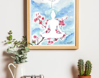 Yoga poster illustration 20 x 30 cm Yoga art Poster Print cherry blossom botanic