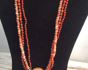Citrene  and Fire Agate Necklace