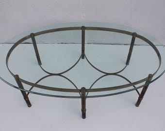 Labarge  Brass Oval Coffee Table .