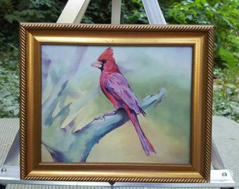 Original Artist Signed Cardinal Painting