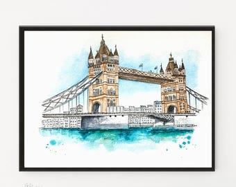 London Print, London Bridge, Watercolor Painting, London Illustration, Travel art, City art, Modern art, Housewarming gift, London poster