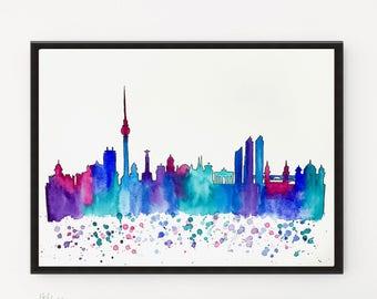Berlin Skyline, City art, Watercolor art, Illustration art, Travel art print, Printable art, Cityscape, Watercolor skyline, Skyline Print