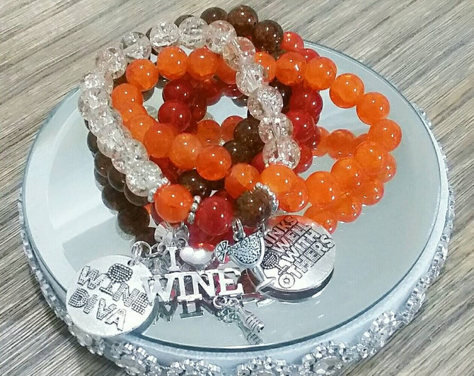 Fall Wine Diva Charm Bracelet Set