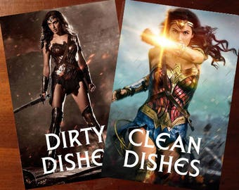 "Wonder Woman  ""Gal Gadot""  Reversible Magnetic Dishwasher Sign 