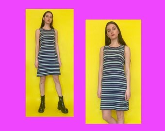 Vintage 90s Y2k 2000s Blue and Green Striped Sleeveless Knee Length Dress