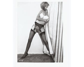 Erotic Vintage Photo - Disheveled Model In Stockings and Garters - 1960's Mischief