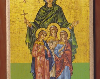 Orthodox icon of Saint Sophia and Daughters.Christian orthodox icon.FREE SHIPPING