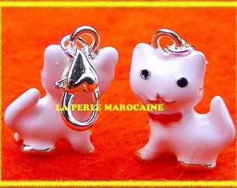 1 PEARL CAT WHITE METAL SILVER 18 KGP CHARM PENDANT