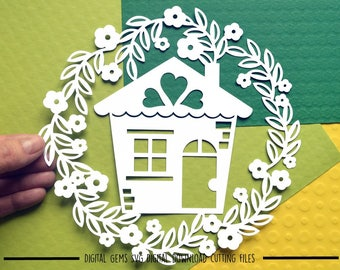 Home sweet home paper cut svg / dxf / eps / files and pdf / png printable templates for hand cutting. Digital download. Commercial use ok.