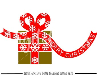 Christmas Present svg / dxf / eps / png files. Digital download. Compatible with Cricut and Silhouette machines. Small commercial use ok.