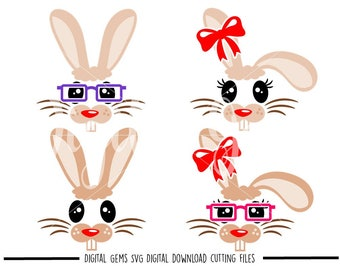Rabbit faces svg / dxf / eps / png files. Digital download. Compatible with Cricut and Silhouette machines. Small commercial use ok.
