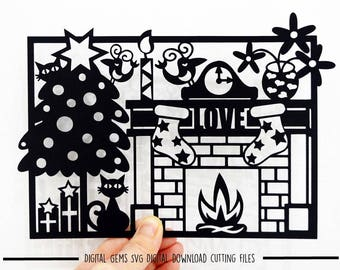Cat Christmas paper cut svg / dxf /eps files and pdf / png printable template for hand cutting. Digital download. Commercial use ok