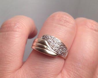Size 8 Diamond Ring Band, 10K Yellow Gold Band, Gold Diamond Ring, Wide Diamond Band, Size 8 - weight 4 gramm