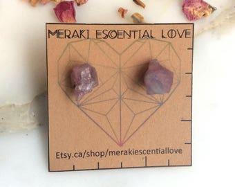 Raw Pink Tourmaline Earrings | Boho Jewelry | Boho Earrings | Healing Jewelry | Heart Chakra