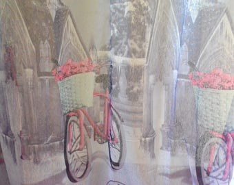 Sheer Curtain Fabric, Bicycle print, Tulle Fabric by the Yard