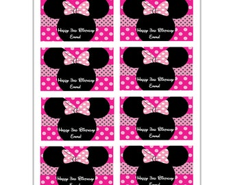 8 PERSONALIZED Minnie mouse ears stickers, Minnie mouse stickers, party favors, labels, decals,treat goody bags, Custom Made