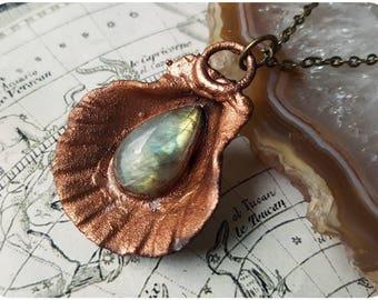 Seashell mermaid necklace ~ shell crystal jewelry, labradorite, copper electroformed pendant