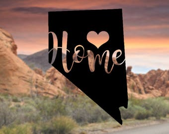 Nevada Home Decal, Nevada Home Decals, Home State Decals, State Decal for Car, Vinyl Decal for Laptop, State Sticker, Nevada Heart Decal