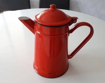 Vintage enamel coffee pot from the 60s