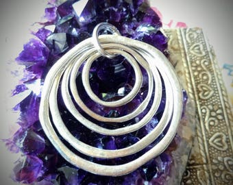 Concentric Circles Pewter Pendant Tibetan Silver Charm Necklace