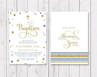 Boy Baptism Christening Invitation, Blue and Gold Glitter, Personalised, Printed Professionally, Peach Perfect