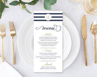 Wedding Menu, Custom Printable Menu, Navy Blue and White, Nautical, Free Colour Changes, DIY, Monogram, Print Your Own, Nordic Navy Suite