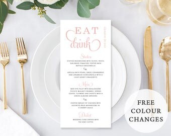Wedding Menu, Custom Printable Menu, Coral Pink and White, Free Colour Changes, DIY Wedding, Kraft Menu, Print Your Own, Chevron Delight