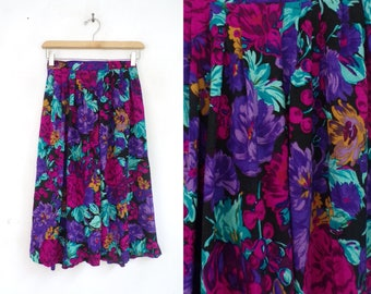 "floral midi skirt colorful flower print skirt lightweight rayon skirt 1980s wide a-line retro skirt small xs/small 25-27"" waist"