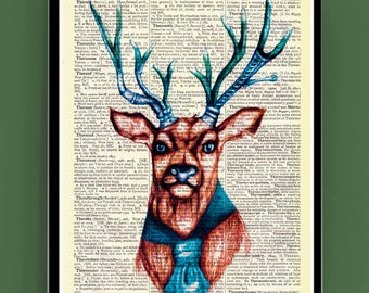 Green Antlers Steampunk Funky Stag with Mustache wall decoration, Printed on dictionary pages or Plain Paper