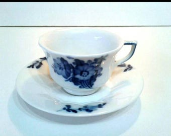 Royal Copenhagen Blue Flower Demitasse Coffee or Small Tea Cup and Saucer