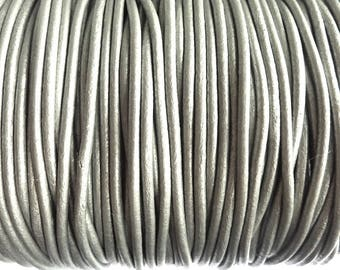 1 m leather cord 3 mm silver PR01000