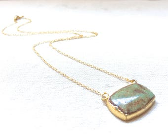 Gold Dipped Turquoise Necklace authentic turquoise necklace green turquoise gold filled necklace delicate modern necklace minimalist boho