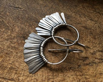 Rustic *Splendor* paddles earrings a21 . modern urban casual . artisan plain sterling silver hoops . fringes . primitive in sterling silver