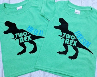 Dinosaur second birthday shirt, dinosaur birthday shirt, T-Rex birthday shirt, T-Rex shirt, dinosaur shirt, toddler dinosaur birthday shirt