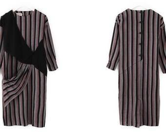 Beautiful art 80s Vintage wool striped dress XS-S