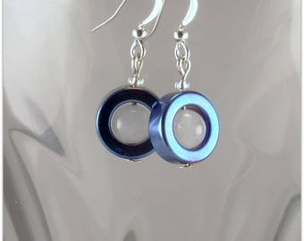 Short earrings, ring of blue hematite and white jade, silver support - An 123Pierres jewel