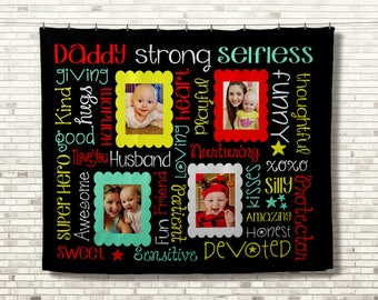 Personalized Photo Blanket, Father Daughter Gift, Personalized Blanket, Personalized Picture Blanket, Photo Memory Blanket, Memorial Blanket