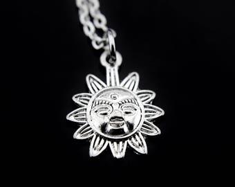 Sunshine Jewelry, Sun Necklace, Sunburst Necklace, Silver Sunburst Charms, Sun Smile Necklace, Sun Jewelry, Summer Necklace, Personalized