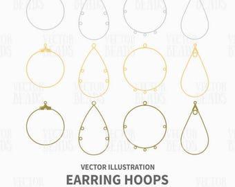 Earring Hoops Illustration - Jewellery Findings Vector Graphics