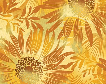 Sun Valley, Large Floral Fabric, Gold Sunflowers, Floral Fabric, by Benartex 8648-38