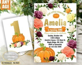 Pumpkin birthday invitation flowers any age fall burgundy rose wine blush florals invite 1st floral girl shabby chic photo gold BDPumpkin15
