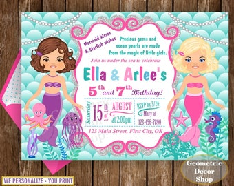 Mermaid Under the Sea Birthday Invitation Pool Party Bash Birthday Invite Girl Swimming twins siblings joint combined dual double  BDM7