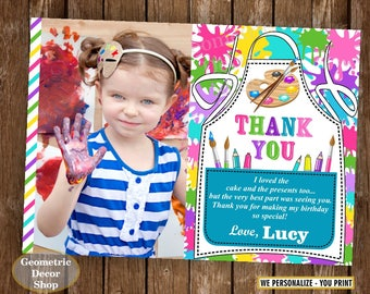 Paint / thank you / card / Art / Party / Painting / Birthday / Favor Tags / Pink / Purple / Teal / Girl / photo / photograph /FTPaint2