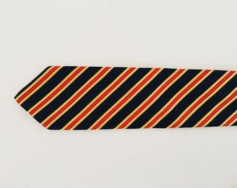 "Brooks & Brothers Stripe Necktie  / NavyBlue,Yellow and Red Stripe   Silk Man Tie 57""L  X 3"" W"