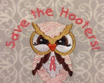 Hootie- Adorable Breast Cancer Owl Embroidery design